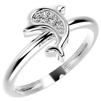 19049P CZ 925 Silver Kid's Ring