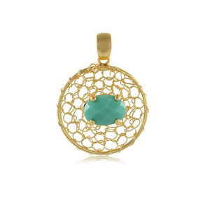 20063R 18K Gold Layered Pendant Turquoise