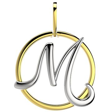 21288-M 18K Gold Layered Pendant Initial M