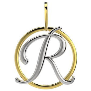 21288-R 18K Gold Layered Pendant Initial R