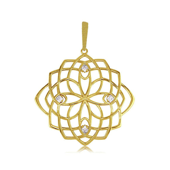 21390 18K Gold Layered CZ Pendant