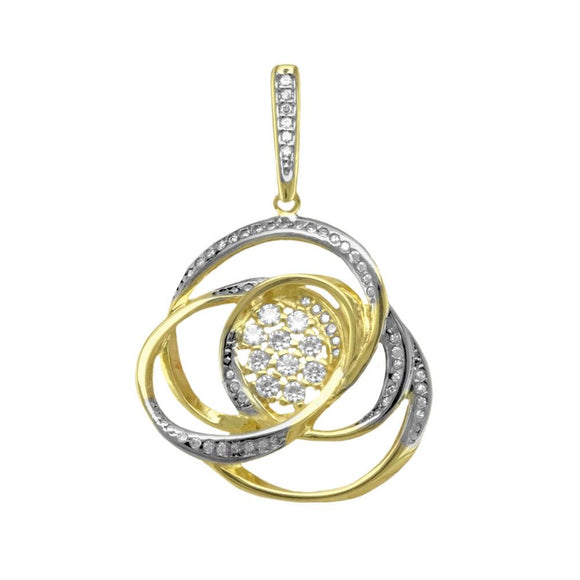 21754 18K Gold Layered CZ Pendant
