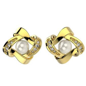 31474 18K Gold Layered Pearl Earring