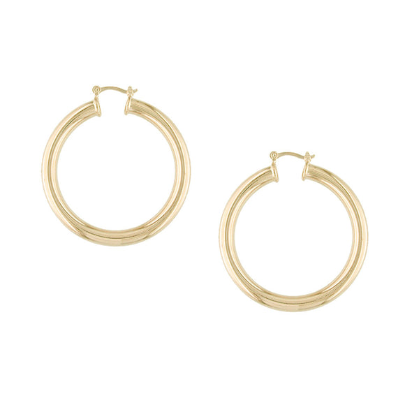 35414v 18K Gold Layered Hoop Earring Rose Gold