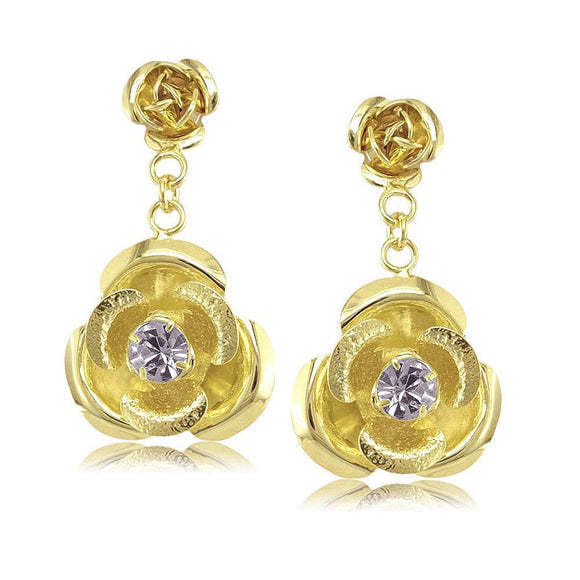 38149 18K Gold Layered -CZ Earring