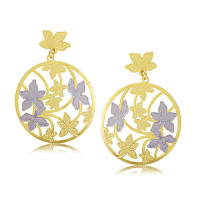 38188 18K Gold Layered -2 Tone Earring