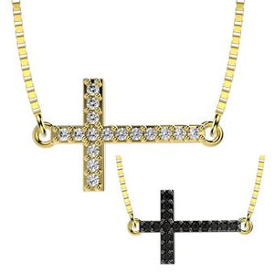 45131 18K Gold Layered Clear  CZ Necklace