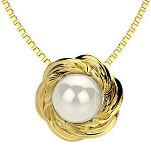 45223 18K Gold Layered Pearl Necklace