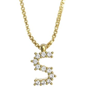 45261-S 18K Gold Layered Clear CZ Necklace