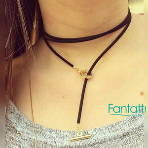46123 18K Gold Layered Leather Chocker 120cm/48in