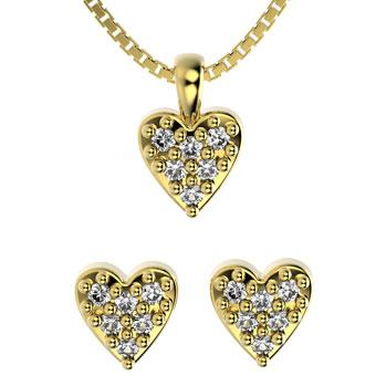 71795 18K Gold Layered CZ Set 18in/45cm