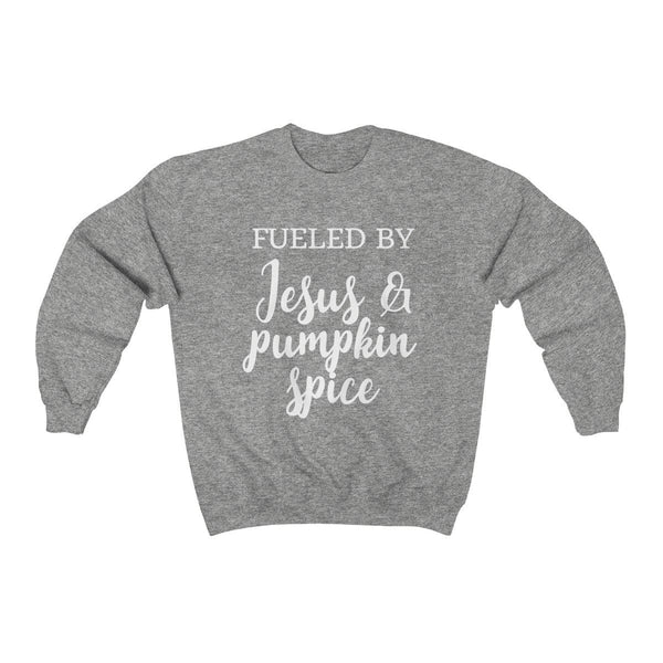 Fueled By Jesus & Pumpkin Spice Unisex Crewneck Sweatshirt - Alively