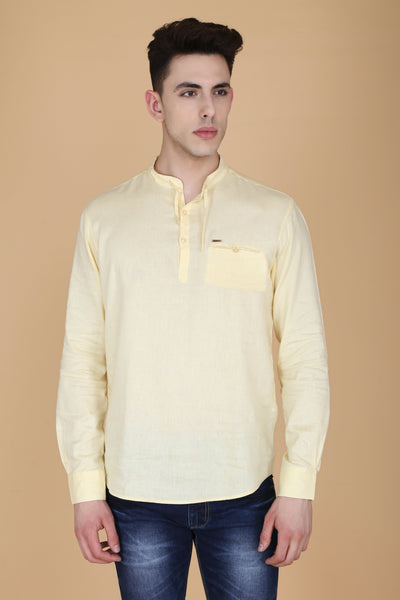 Solid Light Yellow Cotton Slim Fit Mandarin Collar Shirt