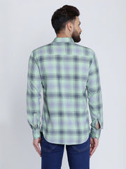 Sea Green Cotton Plaids Slim Fit Casual Shirt