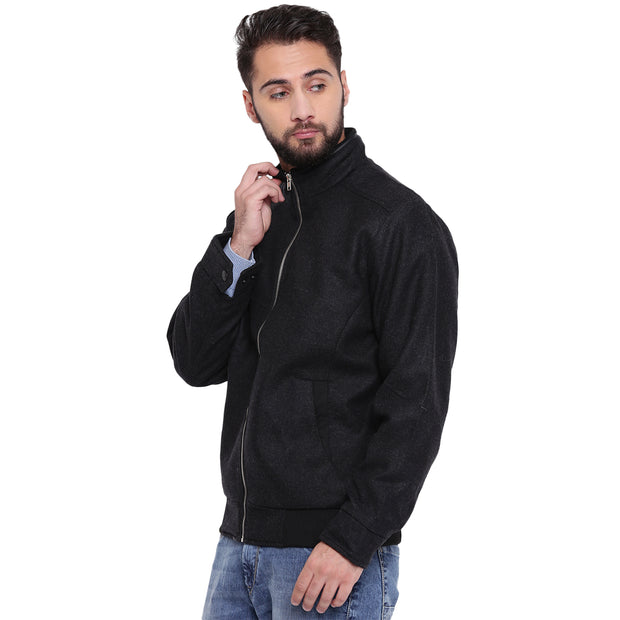 Black Tweed Winter Jacket for Men