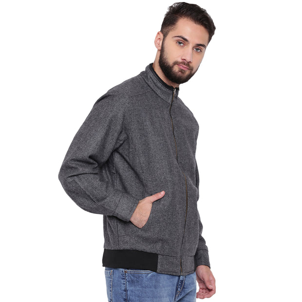 Grey Tweed Winter Jacket for Men