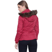Maroon Nylon Quilted Hooded Jacket for Women