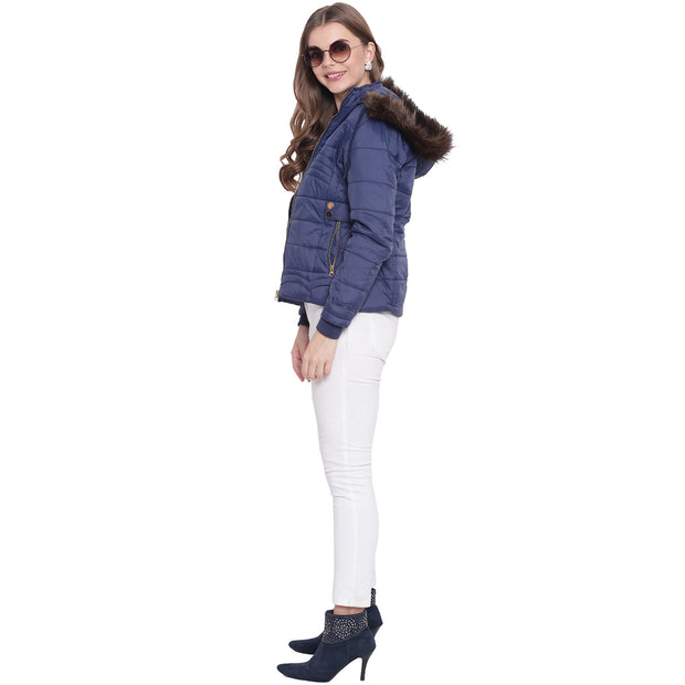 Navy Blue Nylon Quilted Hooded Jacket for Women
