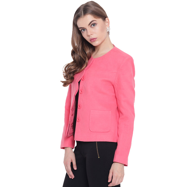 Pink Tweed Winter Jacket for Women