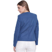Ink Blue Tweed Winter Jacket for Women