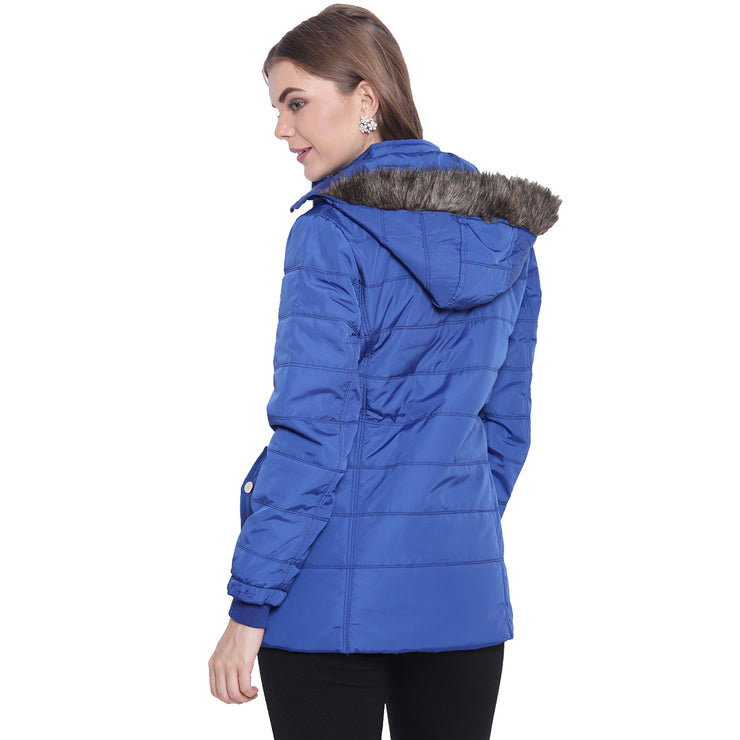 Royal Blue Nylon Hooded Winter Jacket for Women