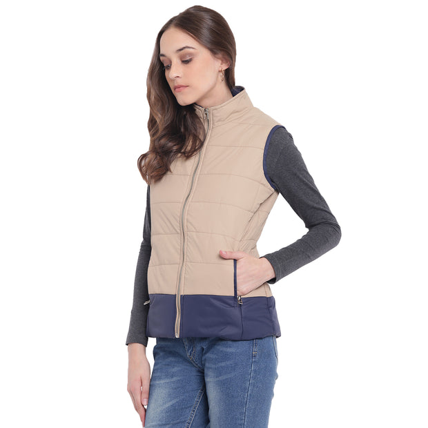 Beige Nylon Padded Winter Jacket for Women