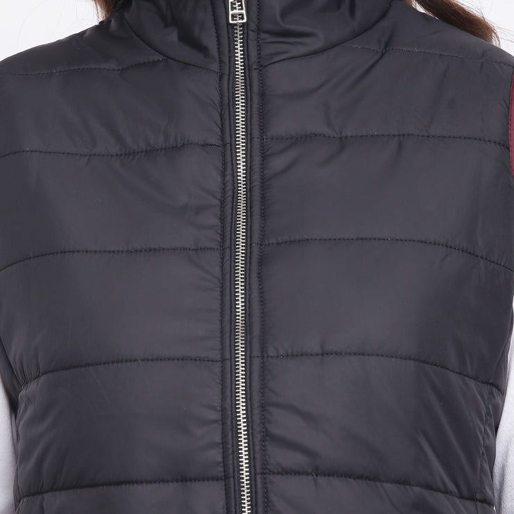 Black Nylon Padded Winter Jacket for Women