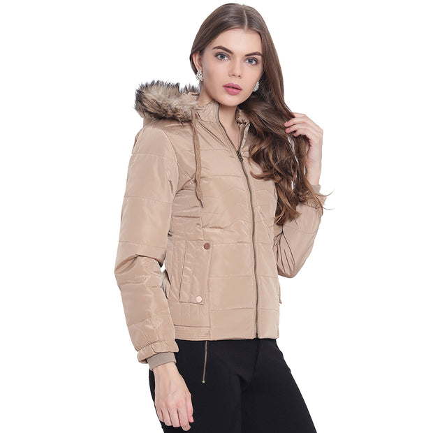 Beige Nylon Hooded Winter Jacket for Women