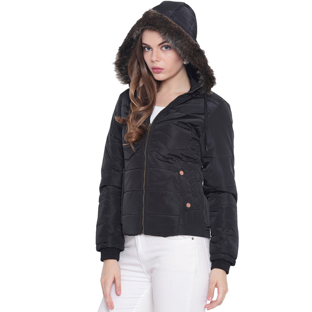 Black Nylon Hooded Winter Jacket for Women
