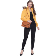 Mustard Nylon Hooded Winter Jacket for Women