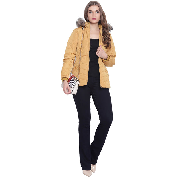 Gold Nylon Hooded Winter Jacket for Women