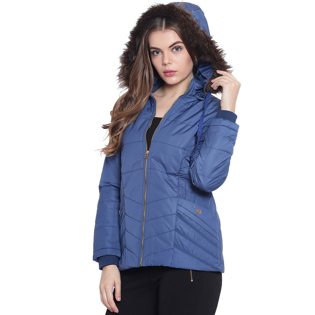 Royal Blue Hooded Nylon Winter Jacket for Women