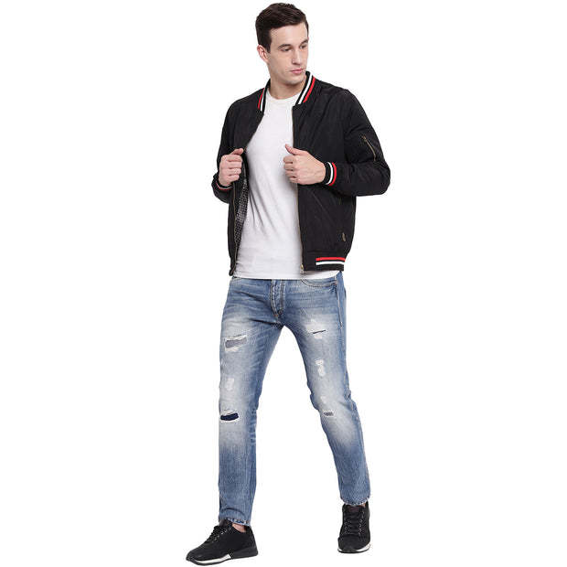 Solid Black Nylon Casual Winter Jacket for Men