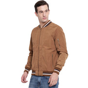 Solid Tan Nylon Casual Winter Jacket for Men
