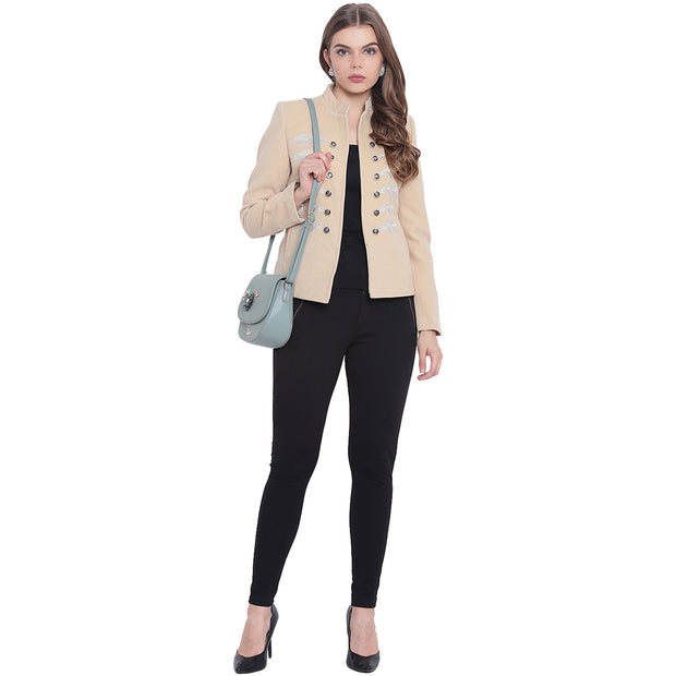 Beige Tweed Winter Jacket for Women