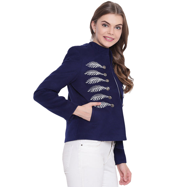 Navy Blue Tweed Winter Jacket for Women