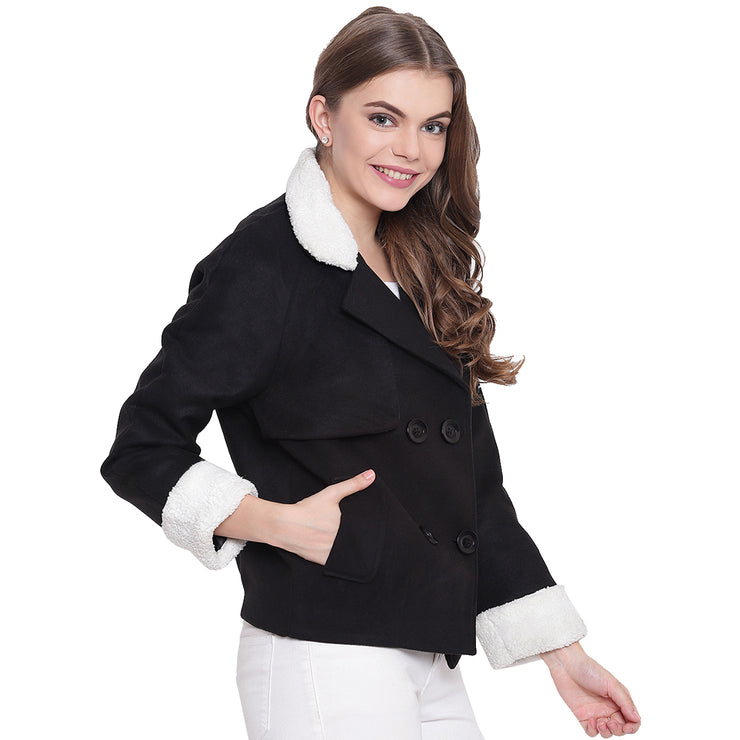 Black Tweed Winter Jacket for Women