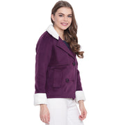 Purple Tweed Winter Jacket for Women