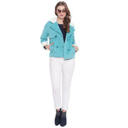 Sea Green Tweed Winter Jacket for Women