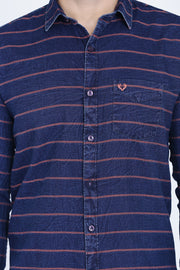 Navy Blue and Pink Cotton Stripes Print Casual Shirt