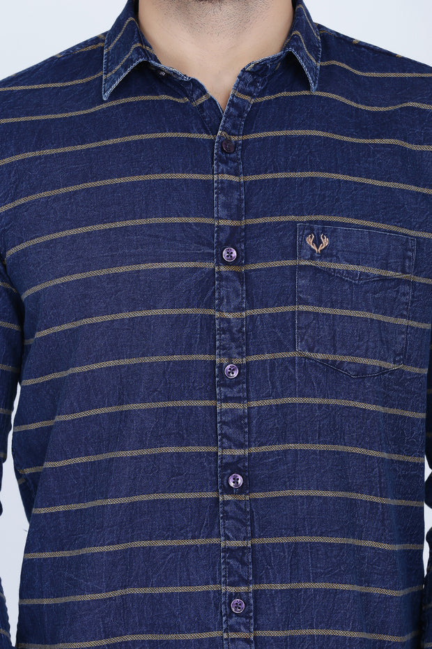 Navy Blue and Grey Cotton Stripes Print Casual Shirt