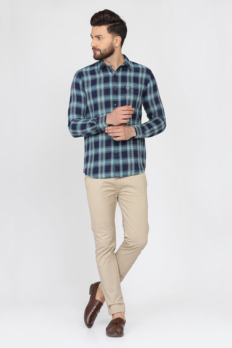 Turquoise Blue Cotton Plaids Casual Slim Fit Shirt