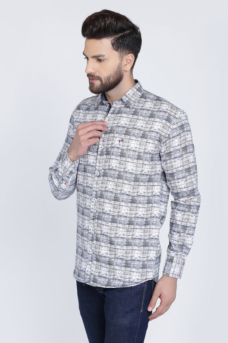 White Cotton Checks Print Casual Shirt