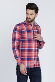 Pink Cotton Plaids Slim Fit Full Sleeves Shirt