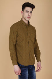 Mustard Cotton Floral Print Slim Fit Shirt