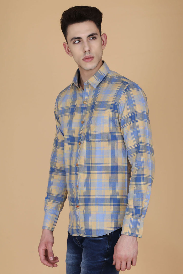 Khaki Cotton Plaids Slim Fit Casual Shirt