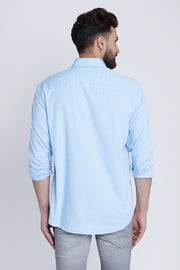 Blue Cotton Plain Slim Fit Spread Collar Shirt