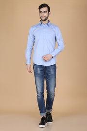 Light Purple Cotton Plain Slim Fit Casual Shirt