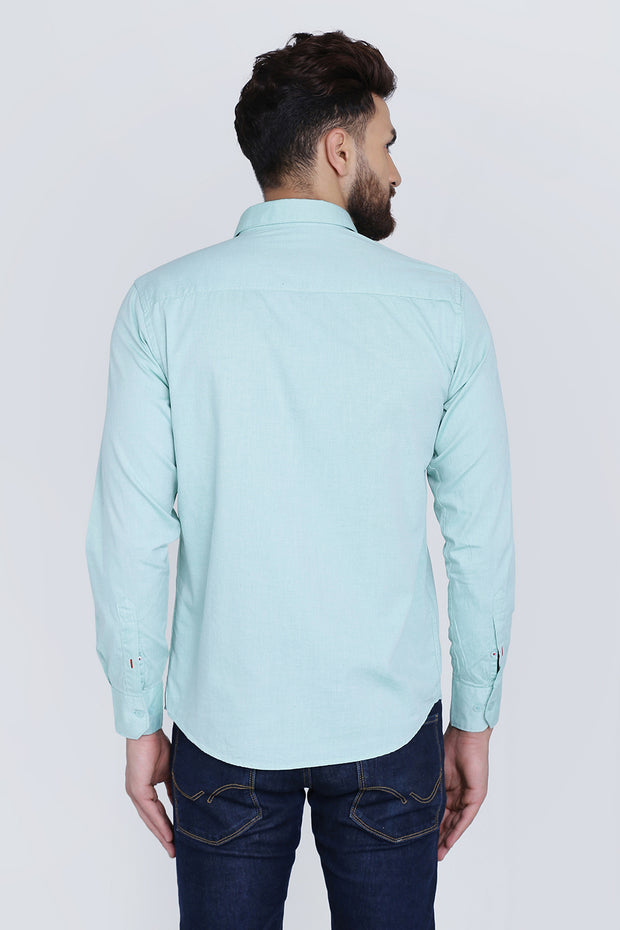Mint Green Cotton Plain Slim Fit Casual Shirt