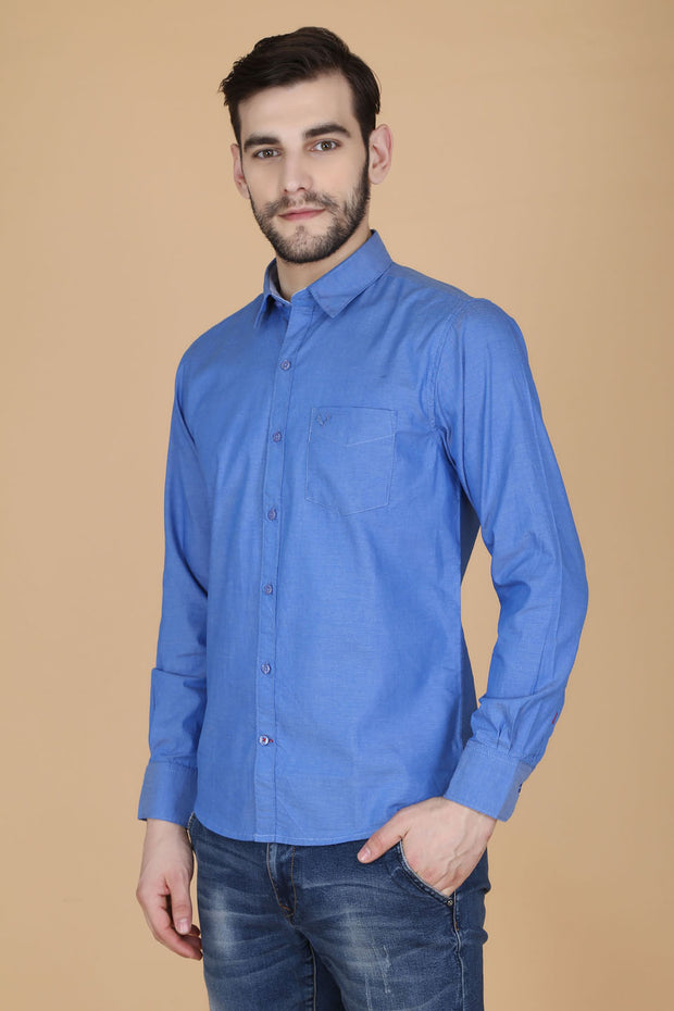 Dark Blue Cotton Plain Slim Fit Casual Shirt